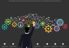 Vector o conceito de projeto liso da ilustração para a análise e o planeamento de negócio, o conceito de bandeiras da Web e ícone Imagens de Stock