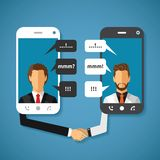 Vector o conceito de uma comunicação global do mundo com a grande distância Imagem de Stock Royalty Free