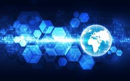 Vector o conceito global digital da tecnologia, fundo abstrato ilustração stock