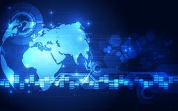 Vector o conceito global digital da tecnologia, fundo abstrato Fotos de Stock Royalty Free