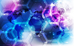 Vector o conceito global digital da tecnologia, fundo abstrato Imagens de Stock