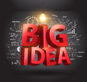 Vector o conceito grande da ideia com cartas do desenho e representa graficamente o negócio Imagens de Stock Royalty Free