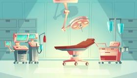 Vector o conceito médico da cirurgia, equipamento do hospital dos desenhos animados ilustração royalty free