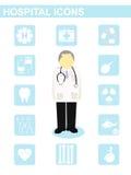 Vector o conceito paciente do dentista do raio X do doutor do ícone do hospital Fotos de Stock Royalty Free