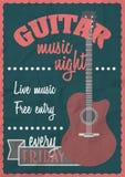 Vector o conceito retro do cartaz do vintage com guitarra acústica Molde do projeto do concerto de rocha Imagens de Stock Royalty Free