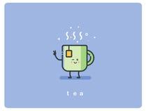 Vector o copo amigável do ícone liso do caráter do chá Imagem de Stock