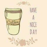 Vector o copo de café bonito com flores e sinal tenha Imagens de Stock Royalty Free