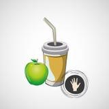 Vector o copo de papel do esboço com palha e maçã Foto de Stock Royalty Free
