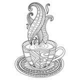 Vector o copo do café ou de chá com ornamento abstratos Imagem de Stock Royalty Free