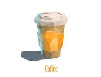 Vector o copo poligonal da caixa da ilustração do café do cappuccino Fotografia de Stock Royalty Free