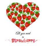 Vector o coração da aquarela com os strewberries isolados no fundo branco Fotos de Stock Royalty Free