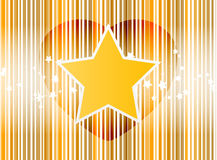 Vector o coração da estrela com fundo do ouro das listras Foto de Stock Royalty Free