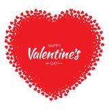 Vector o coração do Grunge com fundo vermelho do cartão do dia de Valentim dos corações Foto de Stock
