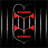 Vector o coração do vampiro dos Valentim com colar e o coração diabólico com os chifres que dão forma a um terceiro coração Imagens de Stock