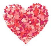 Vector o coração grande feito das formas dos corações cor-de-rosa e dos confetes vermelhos no branco Imagens de Stock