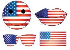 Vector o coração 4o do Dia da Independência dos bordos dos EUA Julys smiley do quarto do 4 de julho jpg do eps do emoji das decor Foto de Stock