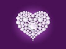 Vector o coração do diamante no fundo roxo Imagens de Stock Royalty Free