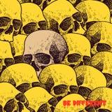 Vector o crânio branco no fundo preto no grunge Foto de Stock