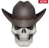 Vector o crânio humano com o chapéu de vaqueiro na cabeça Fotos de Stock Royalty Free