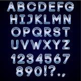 Vector o cromo corajoso e letras de néon azuis do alfabeto Fotos de Stock Royalty Free