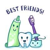 Vector o dente, o dentífrico, a escova de dentes e o floss dos desenhos animados Cuidado dos dentes para crianças Imagens de Stock Royalty Free