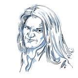 Vector o desenho da arte, retrato da menina desagradável com enrugamentos Imagem de Stock Royalty Free