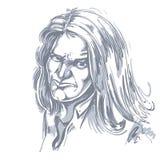 Vector o desenho da arte, retrato da menina desagradável com fatura dos enrugamentos Imagem de Stock Royalty Free