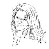 Vector o desenho da arte, retrato da menina desagradável com fatura dos enrugamentos Imagens de Stock