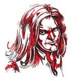 Vector o desenho da arte, retrato da menina desagradável com fatura dos enrugamentos Fotos de Stock Royalty Free