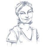 Vector o desenho da arte, retrato do isolador de sorriso feliz lindo da menina ilustração royalty free