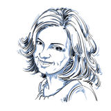 Vector o desenho da mulher sincera de sorriso com corte de cabelo à moda Imagens de Stock Royalty Free