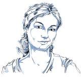 Vector o desenho da mulher suspeitosa com corte de cabelo à moda preto Fotografia de Stock Royalty Free