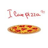 Vector o desenho da pizza com salame, azeitonas pretas, cogumelos e Imagens de Stock