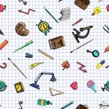 Vector o desenho retro do teste padrão sem emenda de objetos diferentes da escola Tema de volta à escola Pode ser usado para o fu Imagens de Stock Royalty Free