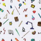 Vector o desenho retro do teste padrão sem emenda de objetos diferentes da escola Tema de volta à escola Pode ser usado para o fu Fotografia de Stock Royalty Free