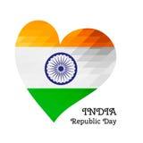 Vector o Dia da Independência indiano da ilustração, bandeira da Índia no estilo na moda Molde do projeto de 15 August Watercolor Imagem de Stock