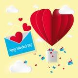 Vector o dia de papel do ` s do Valentim do cartão da escada Abra o envelope azul com voo de corações e de letras vermelhos e o b ilustração stock