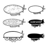Vector o dirigível com um lugar para o texto Etiquetas pretas do molde do dirigible da silhueta ilustração stock