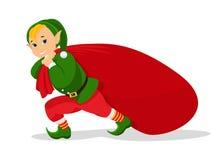 Vector o duende do Natal dos desenhos animados com o saco para presentes Fotos de Stock