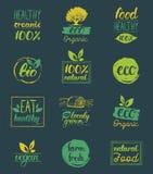 Vector o eco, moldes orgânicos, bio dos cartões do logotipo Saudáveis escritos à mão comem os ícones ajustados Vegetariano, alime Fotografia de Stock Royalty Free