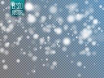 Vector o efeito de queda da neve isolado no fundo transparente com bokeh borrado ilustração do vetor