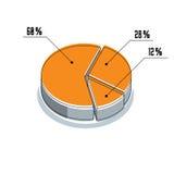 Vector o elemento infographic, dos segmentos por cento do illustrat do círculo 3d Fotos de Stock