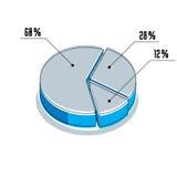 Vector o elemento infographic, dos segmentos por cento do illustrat do círculo 3d Foto de Stock Royalty Free