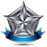 Vector o elemento lustroso glorioso do projeto, estrela 3d de prata Fotografia de Stock Royalty Free