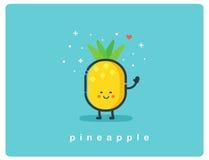Vector o engodo do abacaxi, personagem de banda desenhada engraçado do fruto Foto de Stock