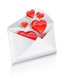 Vector o envelope do correio do ícone aberto com corações do amor Fotos de Stock