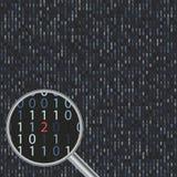Vector o erro de software na tela com código binário Fotografia de Stock Royalty Free