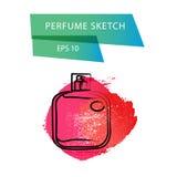 Vector o esboço artístico do perfume isolado no fundo branco Imagem de Stock