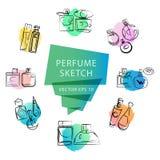 Vector o esboço artístico do perfume isolado no fundo branco Tinta tirada Fotografia de Stock