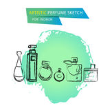 Vector o esboço artístico do perfume para as mulheres isoladas no fundo branco Foto de Stock